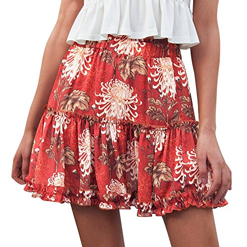 HGWXX7 Women Solid White Backless Tank Tops+Boho Print Beach Ruffle Short Skirt (S, Red(Skirt)) (Ruffle Silk Skirt)