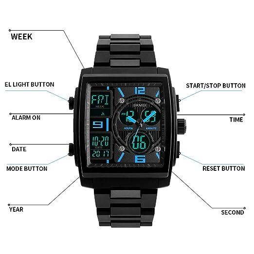 Amazon.com: Mens Digital Analog Sport Wristwatch ABS Case Triple Time Display Calendar Alarm 50M Waterproof-Blue: Watches