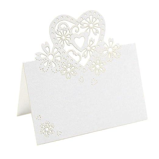JZK® 50 x Perlado blanco tarjetas de nombre de boda de invitaciones de romántico de tallado de corazón del tabla de tarjeta de Lugar Mesa para boda ...