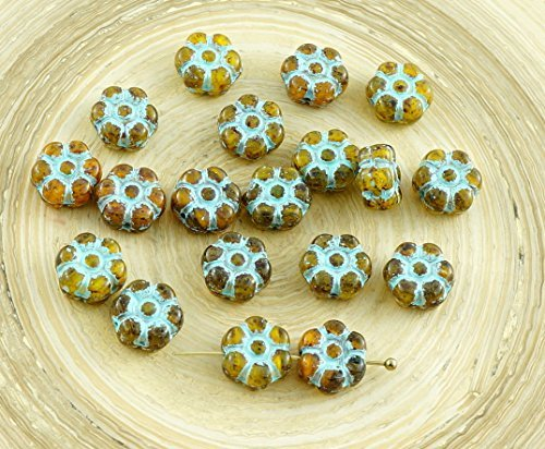 30pcs Picasso Crystal Yellow Mix Turquoise Wash Patina Czech Glass Coin Flower Beads 8mm (Round Flowers Yellow Beads)