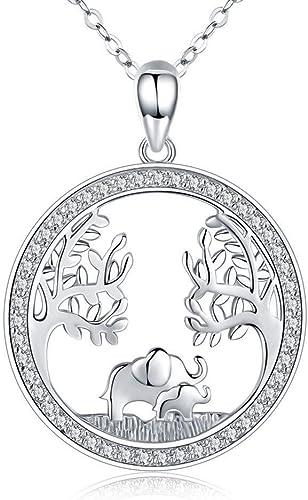 Colgante De Collar De Elefante, Elefantes Afortunados Árbol Genealógico De La Vida Collar Esterlina Joyería Blanca Con Incrustaciones De Circonio Cúbico 18 + 2