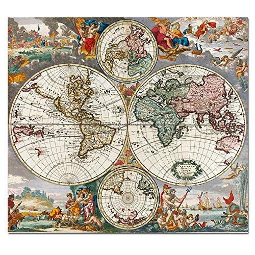 Hcozy art canvas painted world map vintage style poster print hcozy art canvas painted world map vintage style poster printhistorical educational modern wall painting on canvas wall decor and home decor gumiabroncs Image collections