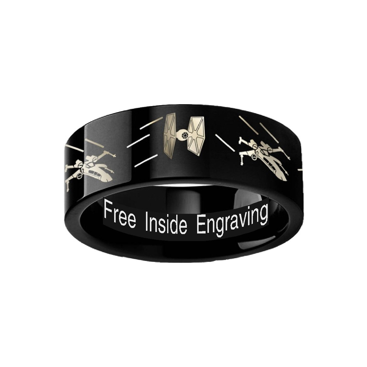 Thorsten Star Wars Tie Fighter X-Wing Design Ring 6mm Black Tungsten Wedding Band Ring Custom Personalized Inside Engraved from Roy Rose Jewelry