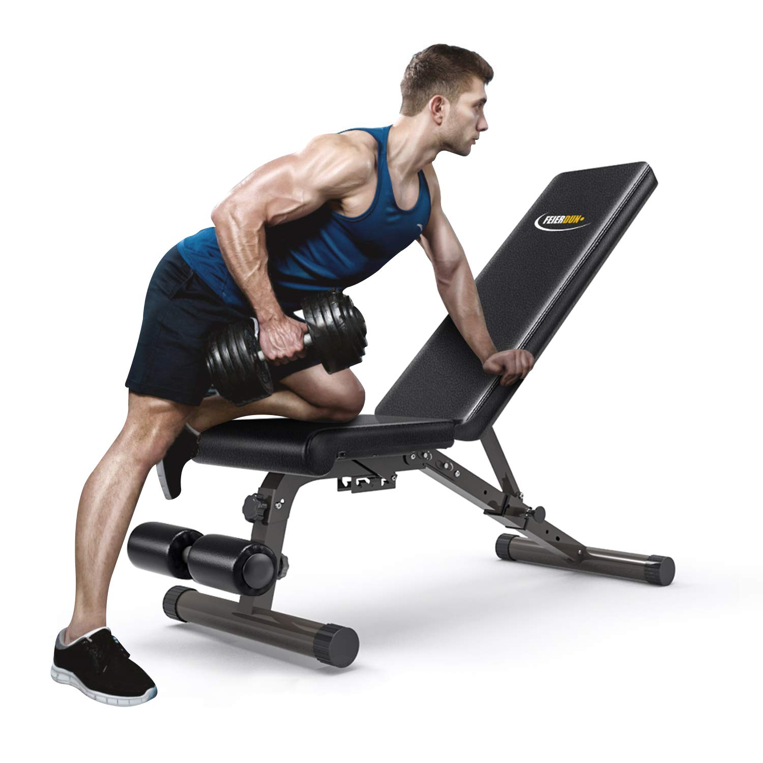 FEIERDUN FIT-PT Adjustable Weight Bench-Incline & Decline to Make A Full Body Workout Foldable Bench, Black