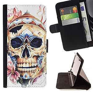 Momo Phone Case / Flip Funda de Cuero Case Cover - Sombrero del cráneo floral del resorte Huesos Muerte - Sony Xperia Z1 L39