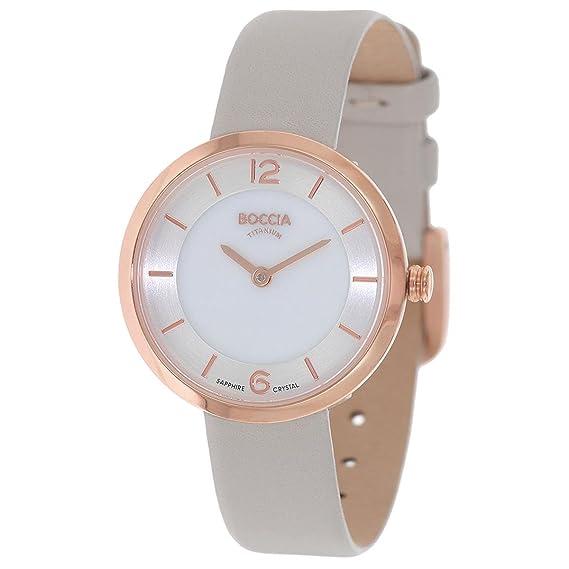 Boccia Reloj Digital para Mujer de Cuarzo con Correa en Cuero 3266-02: Amazon.es: Relojes