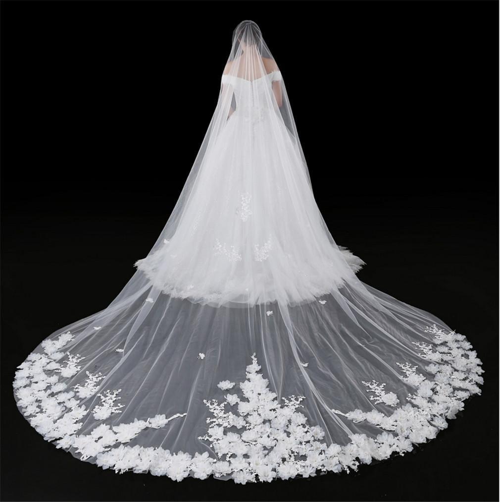 ALL-U Wedding Veil 4M3M Handmade Flowers Bridal Veil Hair Decoration Soft touch Elegant Wedding Accessary, 4pcs