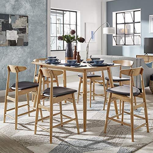 Inspire Q Norwegian Danish Mid-Century Natural Oak Counter Ight Dining Set by Modern Beige 4 5-Piece Sets