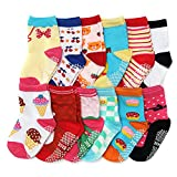 ShoppeWatch Baby Girl Socks with Grips 12 Pairs for Toddler Kids Infants Babies Anti Slip Non Skid Bottoms 2T and 3T Walkers BBSK42