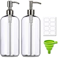 Plastic Boston Round Bottle Refillable Container Empty DIY Dispenser for Essential Laundry Detergent Lotions Oil with…