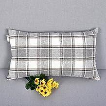 "Natus Weaver Cool Stripe Pillow Cases Soft Linen Square Decorative Throw Cushion Cover Pillowcase with hidden Zipper for Sofa - 12 "" x 20 "" ( Light Gray )"