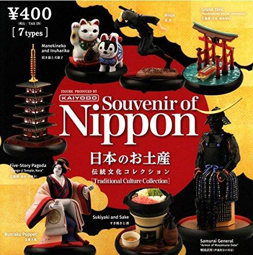 Maneki Neko Japan souvenirs traditional culture collection Souvenir of Nippon [Traditional Culture Collection, all seven hariko Sukiyaki and sake Ninja Bunraku puppet Sengoku warlords otorii pagoda
