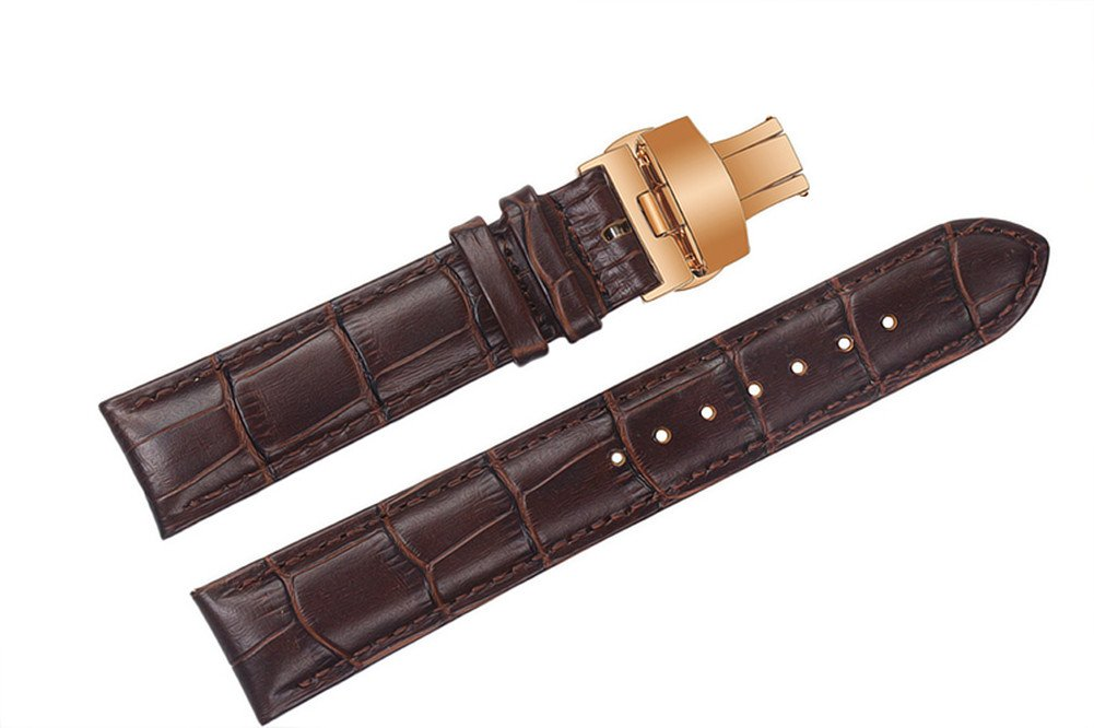 21mm Brown Luxury Replacement Leather Watch Straps/Bands Padded Alligator Grain with Rose Gold Deployment Clasp