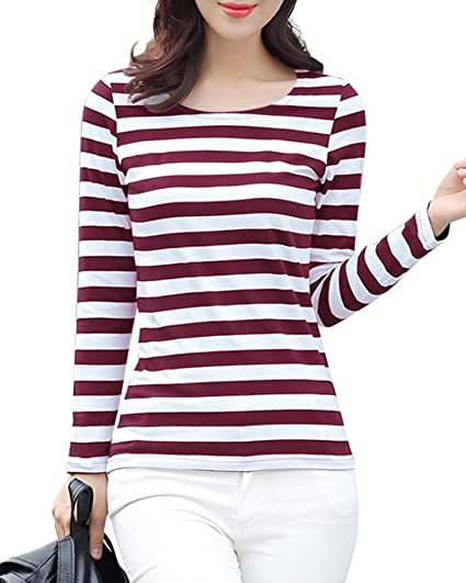 6ab62b8f51 Gootuch Women Fashion Black and White Striped Shirt Tops Long Sleeve  Leisure Rayon Casual Slim Fit Shirt at Amazon Women's Clothing store:
