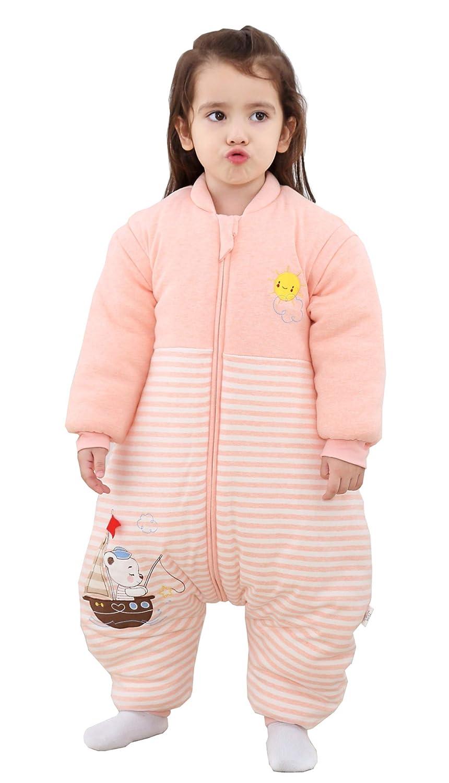 80//Koerpergroesse 80-90cm Chilsuessy Kinder Schlafsack mit Beinen Winterschlafsack mit F/ü/ßen Baby Schlafanzug mit abnehmbar /Ärmel Pyjamas f/ür S/äugling Blau//3.5 Tog verdickt