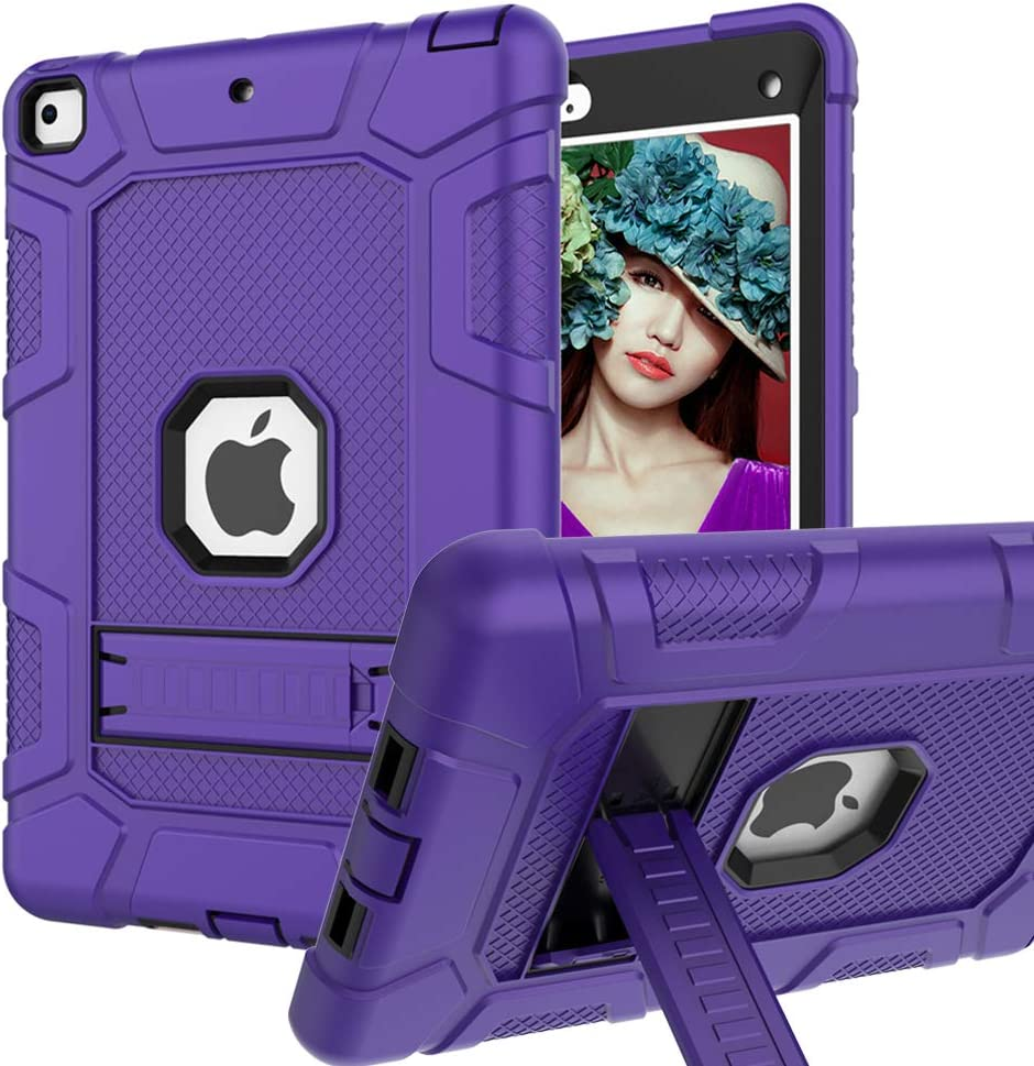 iPad Mini 5 Case, iPad Mini 4 Case, Hybrid Three Layer Armor Shockproof Rugged Drop Protection Cover Case Built with Kickstand for iPad Mini 4/5 7.9 Inch (Purple+Black)