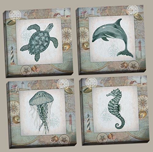 4 Lovely Teal Seahorse Jellyfish Dolphin and Turtle Poster Prints; Nautical Collage Decor, Four 12 by 12-Inch Canvases; Ready to hang! Dolphin Wall Decor