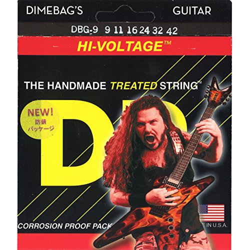 DR Strings Electric Guitar Strings, Dimebag Darrell Signature, Treated Nickel-Plated, 9-42