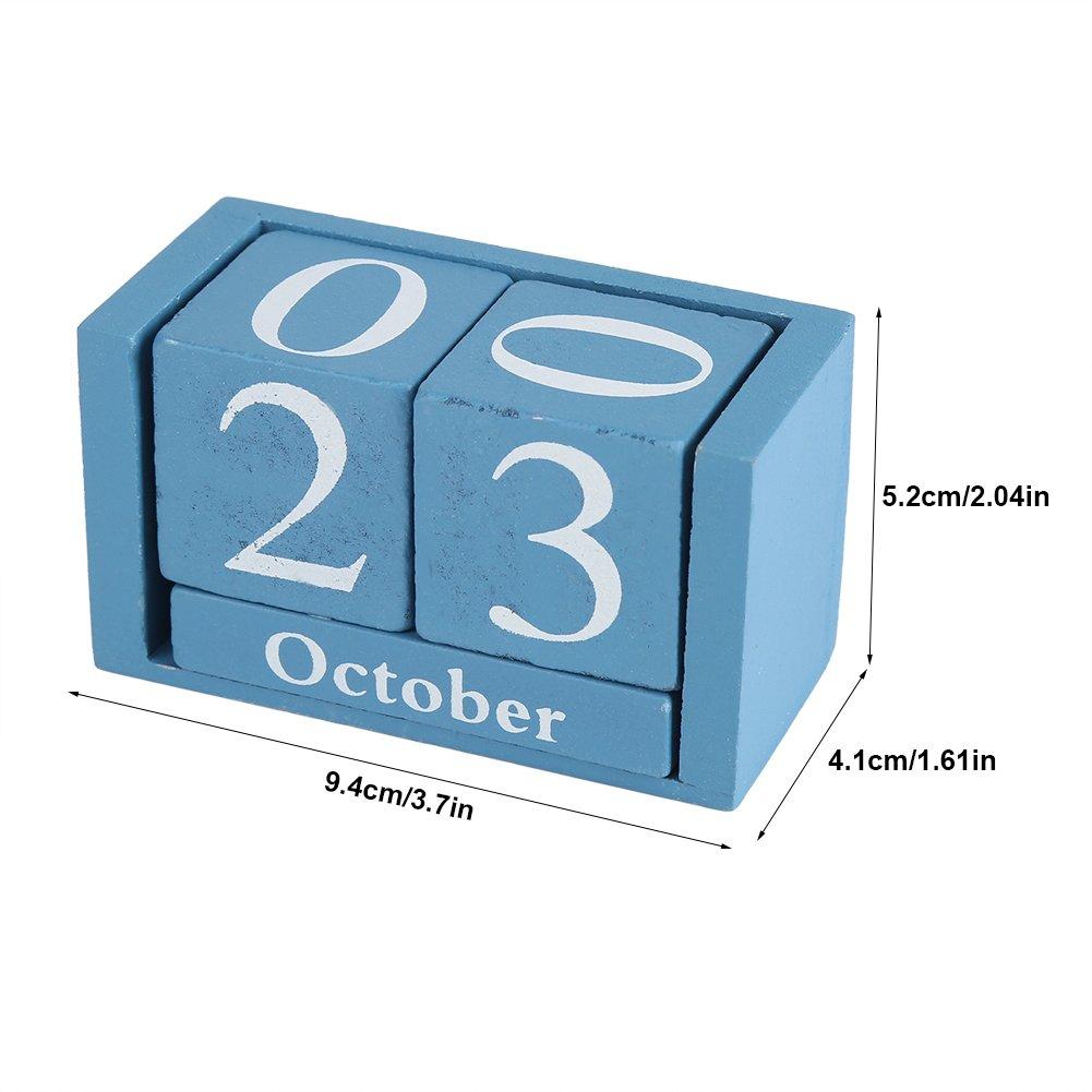 Perpetuo in Legno Vintage Blocco di Legno del Calendario da Tavolino Visualizzazione della Data del Mese Decorazione Dellufficio Domestico Black