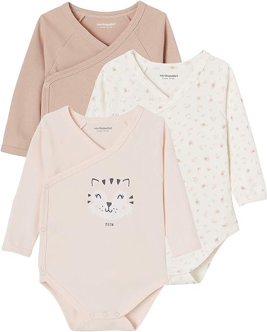 VERTBAUDETLote de 3 bodies bebé 100% algodón de manga largaBLANCO CLARO BICOLOR/MULTICOLONACIMIENTO - 50CM: Amazon.es: Bebé