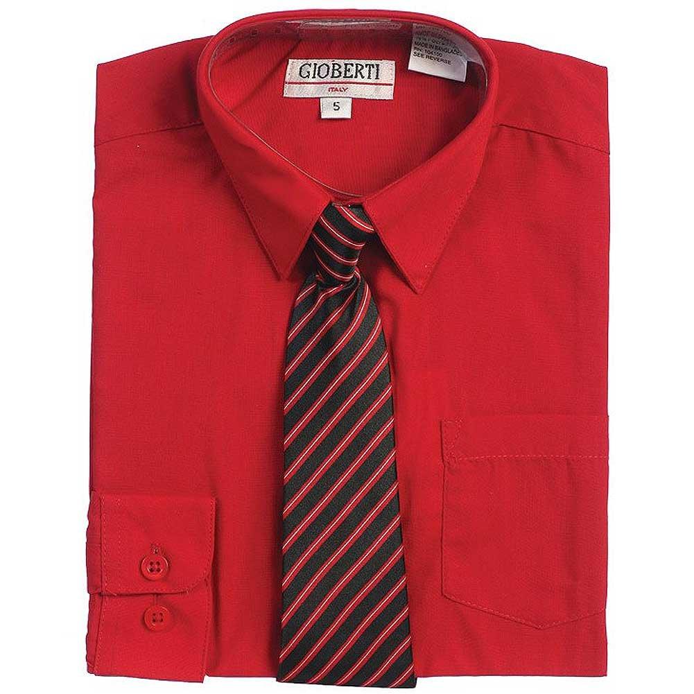 Red Button Up Dress Shirt Black Striped Tie Set Toddler Boys 2T