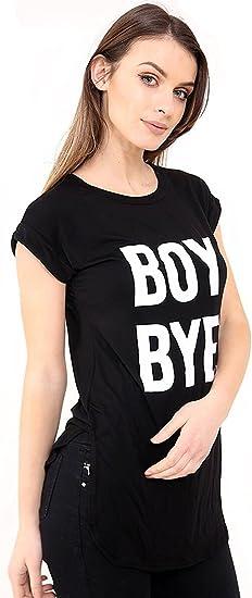 New Ladies Women BOY BYE Curve Hem Style Short Sleeve T-Shirt Top Plus Size
