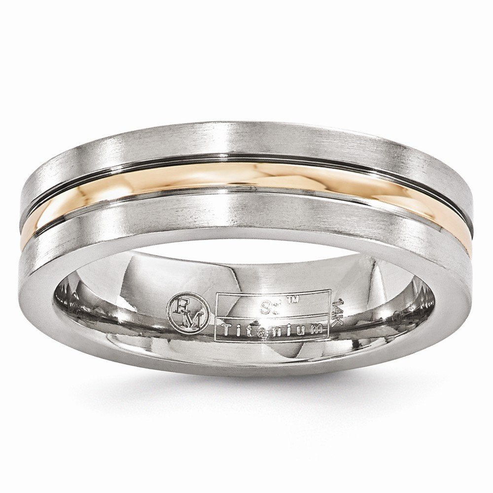 Jewels By Lux Edward Mirell Titanium and 14k Rose Gold Grooved 6mm Band