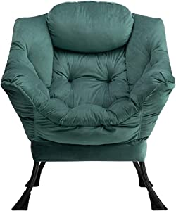 AbocoFur Modern Cotton Fabric Lazy Chair, Accent Contemporary Lounge Chair, Single Steel Frame Leisure Sofa Chair with Armrests and A Side Pocket, Thick Padded Back, Dark Atrovirens