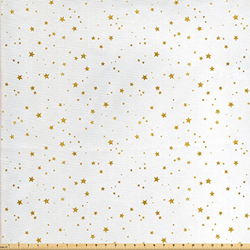 Lunarable Stars Fabric by the Yard, Outer Space Theme with Galaxy Sky Grungy Stars for Kids Party Birthday Image, Decorative Fabric for Upholstery and Home Accents, Amber and White