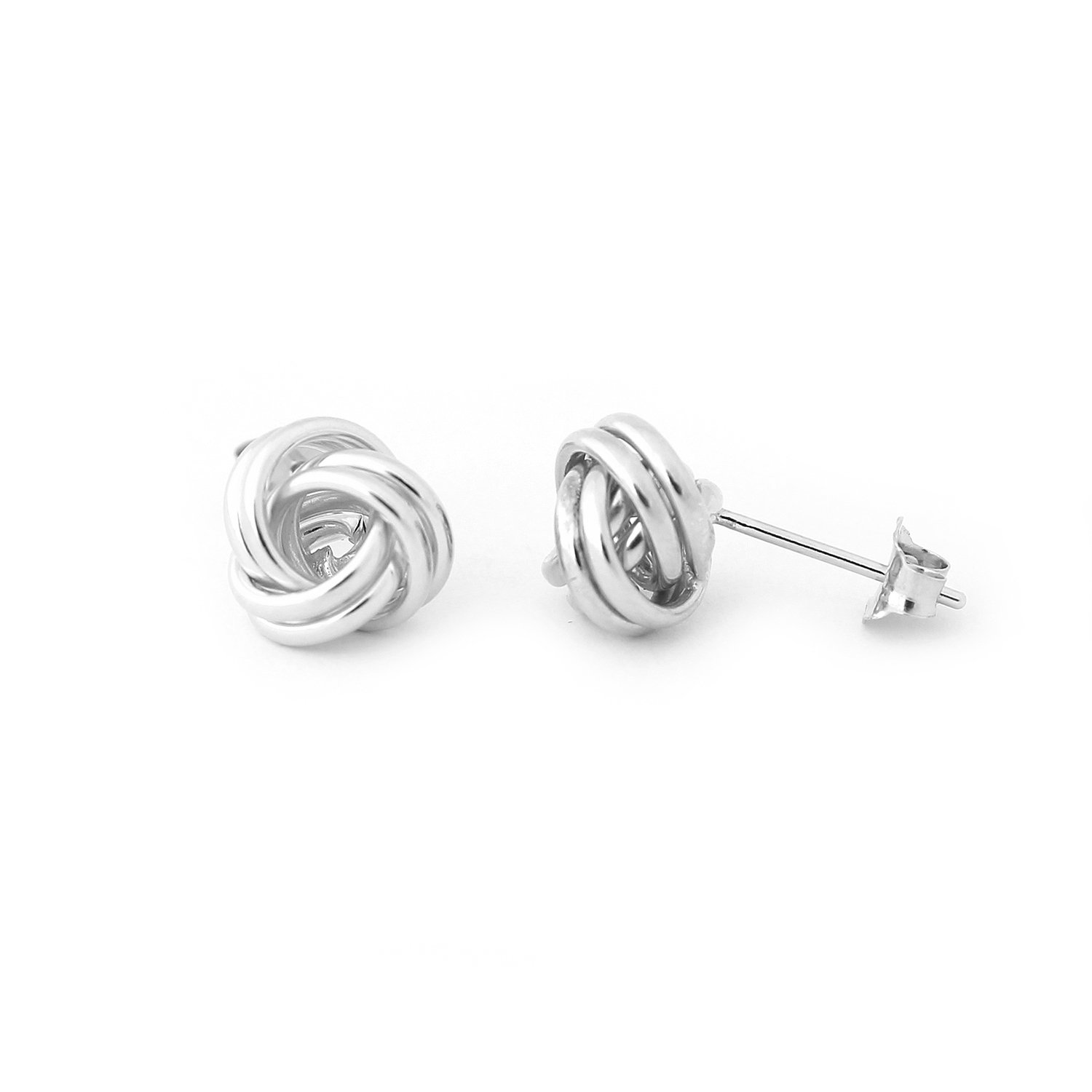 14k White Gold Love Knot Stud Earrings - 8mm