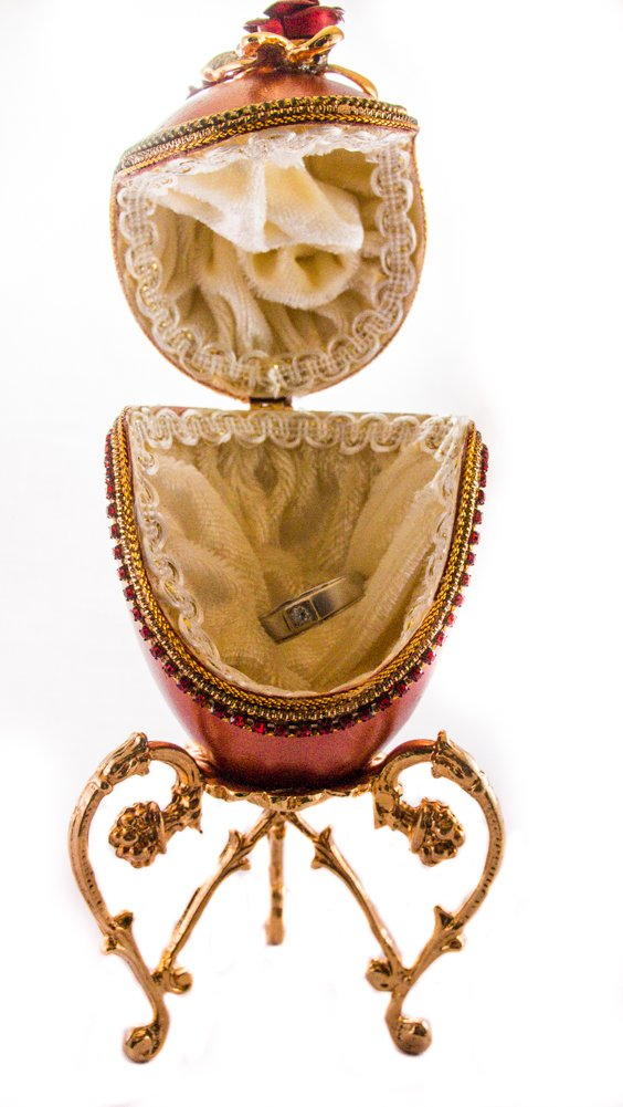 ATS Red Rose Egg Shell Ring Box by ATS