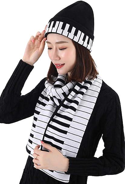 Schal Set Klavier Dick Warm Damen 2 Pieces Klavier M/ütze Stricken Hut