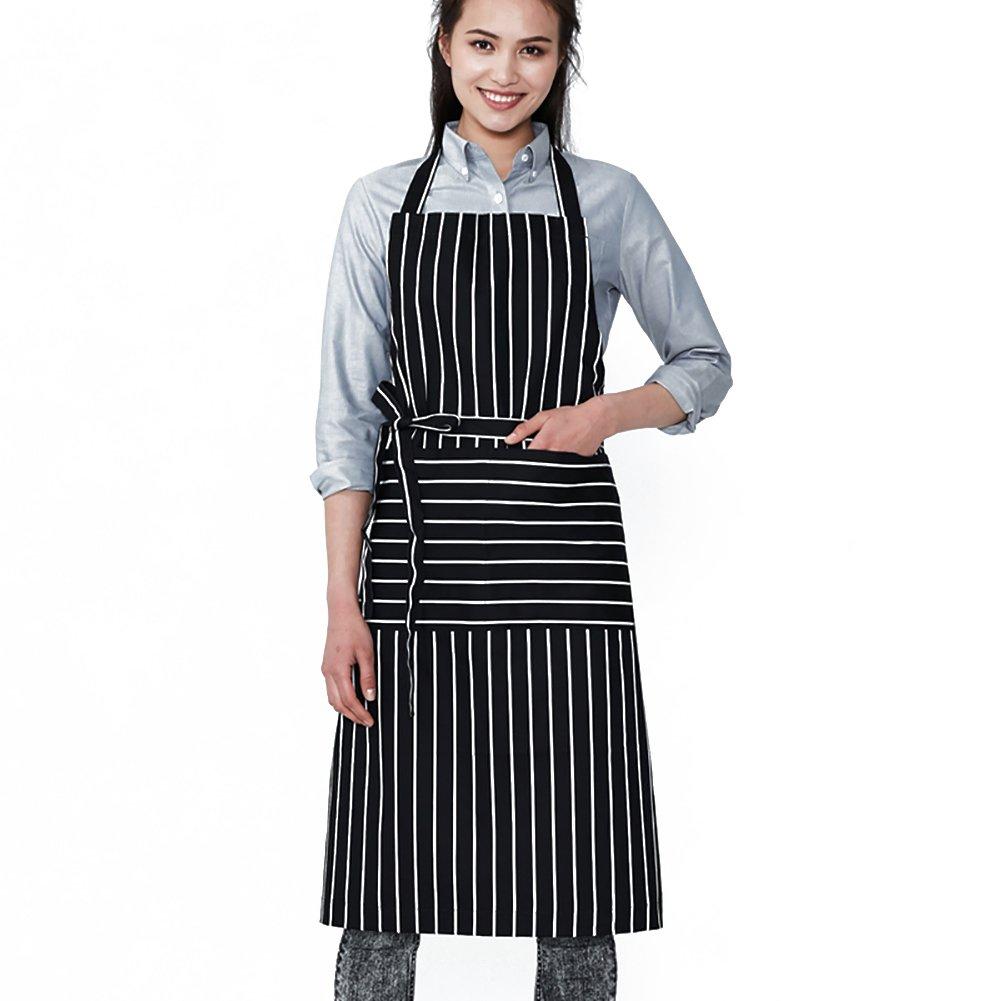 jyphm調節可能なよだれかけエプロンポケット付き女性用料理シェフBakingガーデニングCrafting Serving JYPAPR106  ストライプ B07FBGR8B2