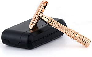 BAILI Classic 3-Piece Double Edge Safety Razor Wet Shaving for Men Women with Platinum Blade and Mirrored Travel Case Rose Gold BD178