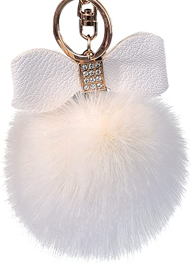Diamond Rabbit Fur Ball Fox Bowknot Keychain Bag Plush Car Key Ring Pendant 10cm