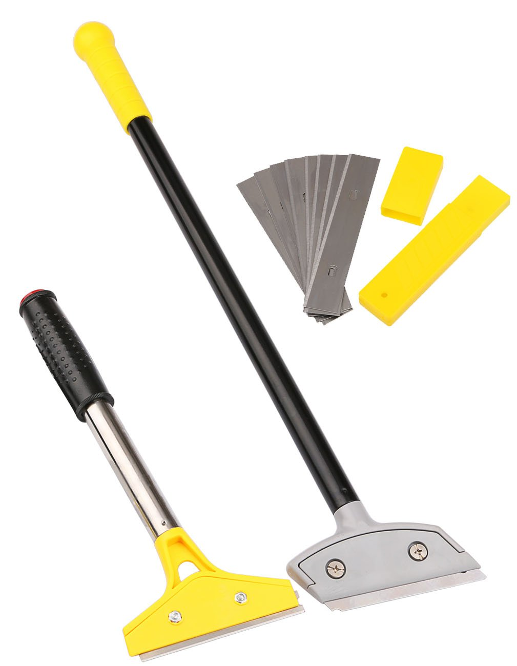 """Scrapers Set,Kattool Long Handle Scraping Tools Kit with 10pcs 4"""" Spare Razor Blades, Cleaning Floor Glass Wall Algae, Pack of 2"""
