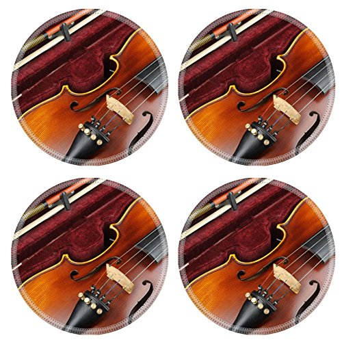 Luxlady Round Coasters Violin in case IMAGE 35628952 Customized Art Home Kitchen (Maple Bow Back Glider)