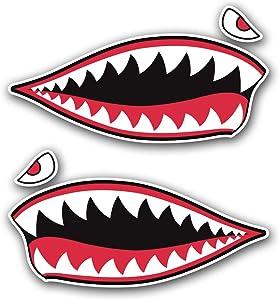 2pc Shark Teeth Sticker Vinyl Decal Set Hard Hat Motorcycle helmet toolbox car truck bumper laptop