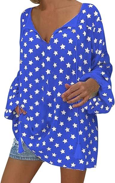 BuyO Tops Camisa de Mujer Blusa de Manga Larga para Mujer Casuales para Mujer Tallas Grandes Manga Larga Boho Floral Impreso Cuello en V Oversize Camisetas Sueltas Blusas Túnica: Amazon.es: Ropa y