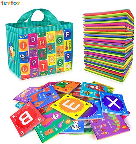teytoy Baby Soft Alphabet Cards Toys, 26Pcs ABC Alphabet Flash Cards Early Learning Toy with Storage Bag, Washable Soft letter Toy for Toddlers Kids Boys Girls Over 0 Years – The Super Cheap