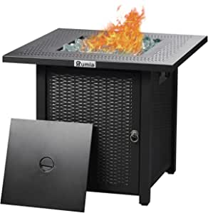 28'' Propane Fire Pit Table, Rumia Auto-Ignition Fire Pit, Rattan & Wicker-Look Square Fire Table with Lid, CSA Safety Certification, Adjustable Flame, for Garden/Patio/Courtyard