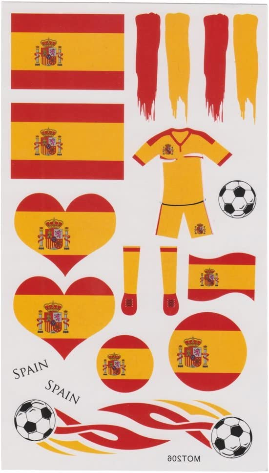 LIHAO(Para España Fan 4 Set de Tatuajes Temporales para Fútbol Partido