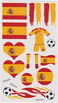 LIHAO(Para España Fan 4 Set de Tatuajes Temporales para Fútbol Partido: Amazon.es: Juguetes y juegos