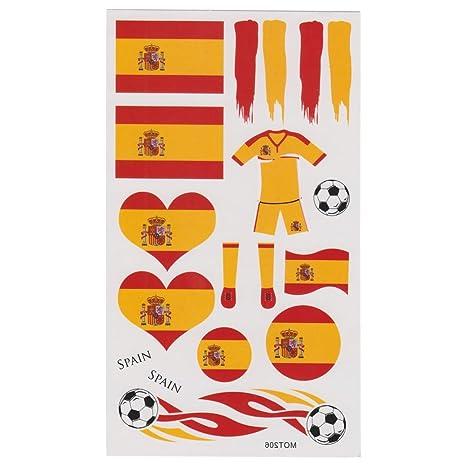 LIHAO(Para España Fan 4 Set de Tatuajes Temporales para Fútbol ...