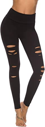 DIBAOLONG Womens High Waist Yoga Pants Cutout Ripped Tummy Control Workout Running Yoga Skinny Leggings