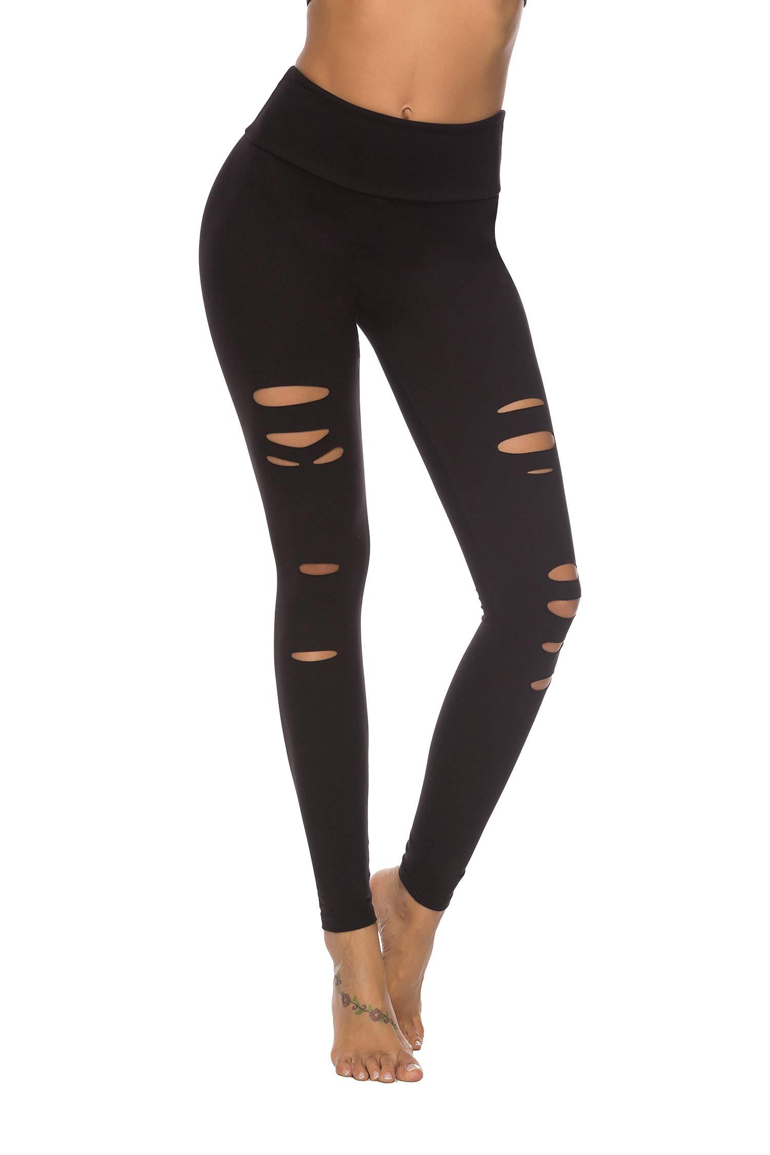 DIBAOLONG Womens High Waist Yoga Pants Cutout Ripped Tummy Control Workout Running Yoga Skinny LeggingsBlack L by DIBAOLONG