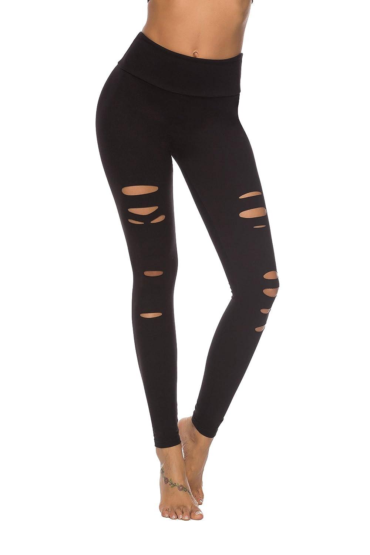2287ad088a652 Amazon.com: DIBAOLONG Womens High Waist Yoga Pants Cutout Ripped Tummy  Control Workout Running Yoga Skinny Leggings: Clothing