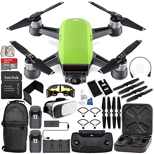 Price comparison product image DJI Spark Portable Mini Drone Quadcopter Fly More Combo (Meadow Green) EVERYTHING YOU NEED Bundle