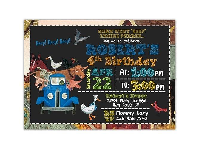 Amazon little blue truck birthday party invitations any age little blue truck birthday party invitations any age custom filmwisefo