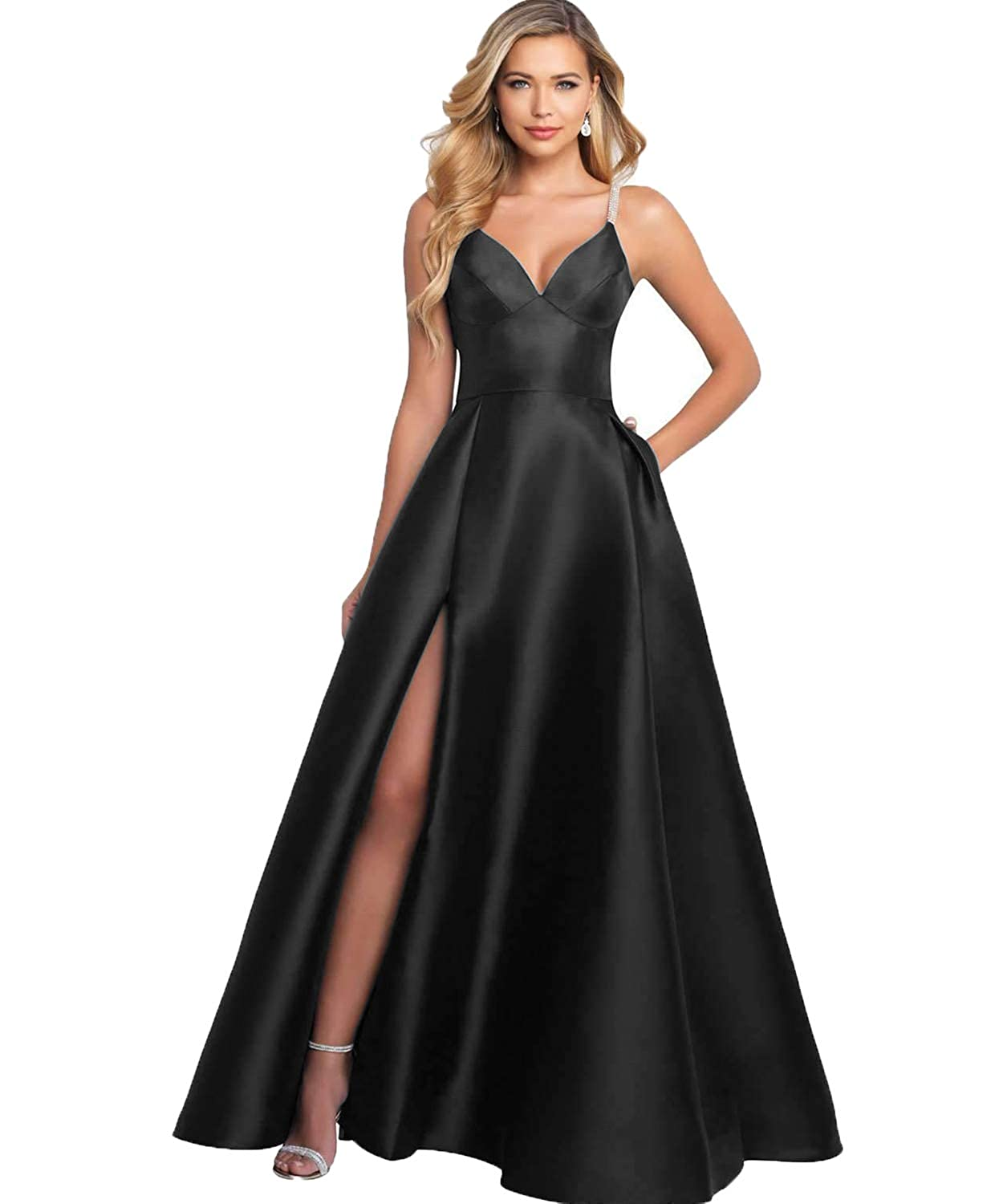 0b1d935bf3 YGSY Women s Deep V Neck Spaghetti Straps Beaded Slit Satin A-line Evening  Prom Dress Long Formal Party Gown with Pockets at Amazon Women s Clothing  store